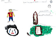 """""""Bad Day"""" by Mahdi, age 12, from Afghanistan. Two months ago, when my grandfather died. It was hard for me then. I am crying in the painting. I've drawn the grave of my grandfather."""