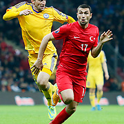 Turkey's Burak Yilmaz (R) during their UEFA Euro 2016 qualification Group A soccer match Turkey betwen Kazakhstan at AliSamiYen Arena in Istanbul November 16, 2014. Photo by Kurtulus YILMAZ/TURKPIX