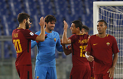 October 28, 2017 - Rome, Italy - From left, Roma s Federico Fazio, Alisson Becker, Hector Moreno, Alessandro Florenzi and Juan Jesus celebrate at the end of the Serie A soccer match between Roma and Bologna at the Olympic stadium. Roma won 1-0. (Credit Image: © Riccardo De Luca/Pacific Press via ZUMA Wire)