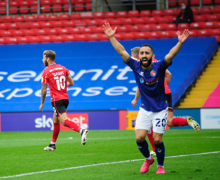 Lincoln City's Jorge Grant celebrates scoring the opening goal<br /> <br /> Photographer Andrew Vaughan/CameraSport<br /> <br /> The EFL Sky Bet League One - Lincoln City v Charlton Athletic - Sunday 27th September, 2020 - LNER Stadium - Lincoln<br /> <br /> World Copyright © 2020 CameraSport. All rights reserved. 43 Linden Ave. Countesthorpe. Leicester. England. LE8 5PG - Tel: +44 (0) 116 277 4147 - admin@camerasport.com - www.camerasport.com