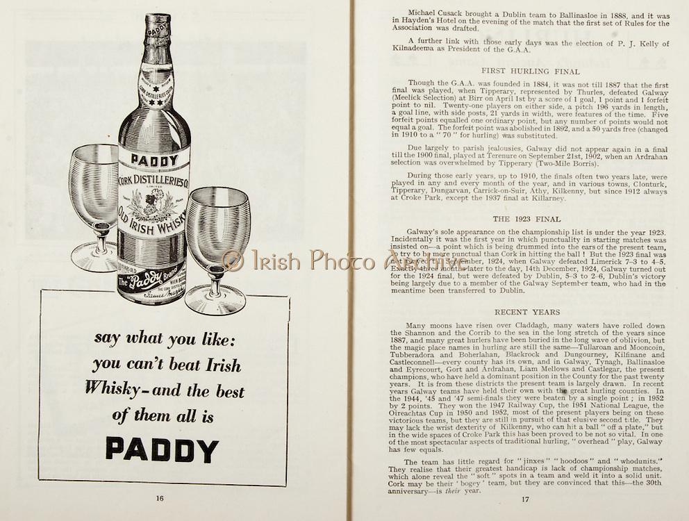All Ireland Senior Hurling Championship Final,.Programme, .06.09.1953, 09.06.1953, 6th September 1953,.Cork 3-3, Galway 0-8, .Minor Dublin v Tipperary, .Senior Cork v Galway, .Croke Park, 0691953AISHCF,..Advertisements, Paddy Old Irish Whiskey,