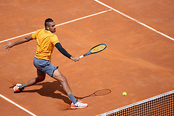 May 14, 2019: Rome, Italy: NICK KYRGIOS hits backhand volley. Kyrgios started the match with an underarm serve on the opening point and ended it with four consecutive aces to complete a 6-3 3-6 6-3 upset victory over D. Medvedev at the Rome Masters. (Credit Image: © Giuseppe Maffia/NurPhoto via ZUMA Press)