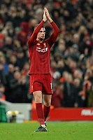 Football - 2019 / 2020 Premier League - Liverpool vs. Southampton<br /> <br /> Liverpool's Jordan Henderson applauds the fans<br /> <br /> Colorsport / Terry Donnelly