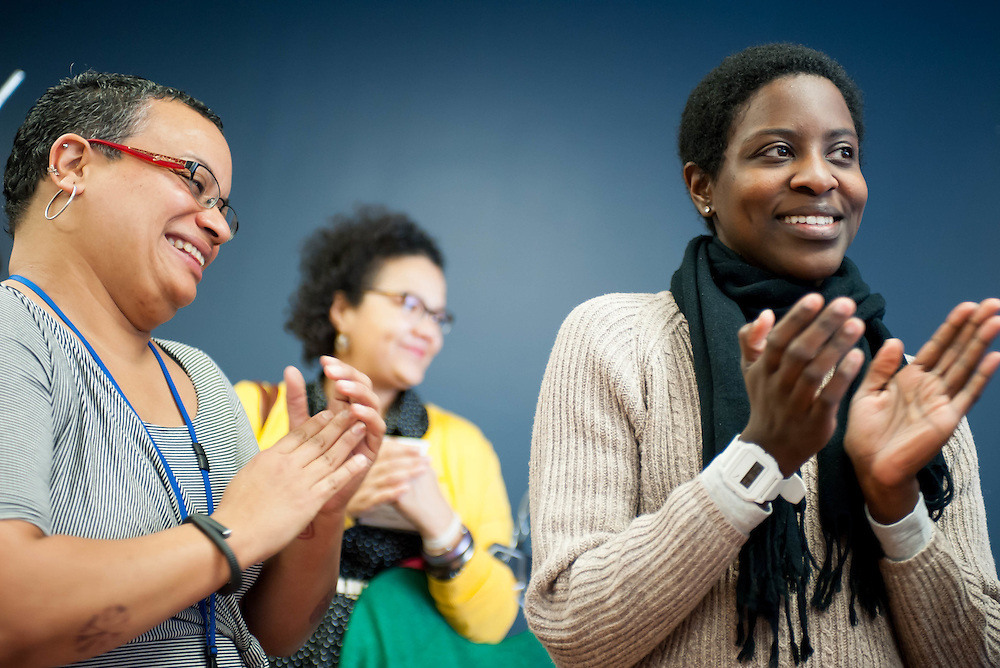 Employees at the Goodwill Store in Cambridge, MA, celebrate the store's remodeling.