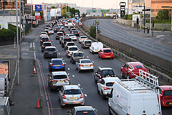 © Licensed to London News Pictures. 06/07/2020. London, UK. Long queues of traffic caused by Severe flooding on the North Circular road at Brent Cross in North London where passengers have been rescued from vehicles and cars are stranded. Photo credit: Ben Cawthra/LNP