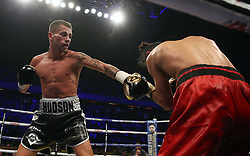 Lucien Reid (left) and Jose Aguiler in the International Featherweight Contest at the Copper Box Arena, London. PRESS ASSOCIATION Photo. Picture date: Saturday September 16, 2017. See PA story BOXING London. Photo credit should read: Scott Heavey/PA Wire