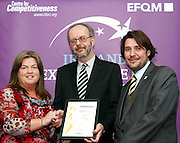 Cecilia Smith of Co Cavan Citizen Information Centre receive their award from Tony McQuinn chief executive CIB and Matt Fisher COO, EFQM at the EFQM Ireland Excellence Awards ceremony in association with Fáilte Ireland and the Centre for Competitiveness at the Galway Bay Hotel on Friday night. Photo:- Andrew Downes Photography / No Fee
