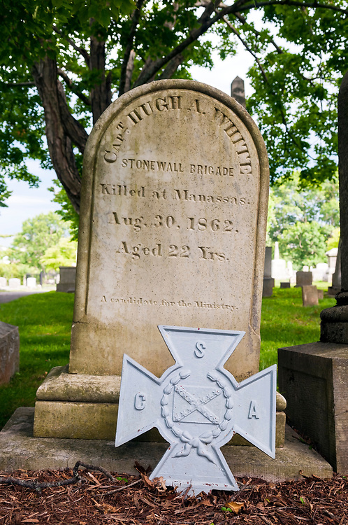 The grave of one Captain Hugh A. White, Confederate States of America, who was killed at Manassas in 1862 and is buried in Lexington, Virginia