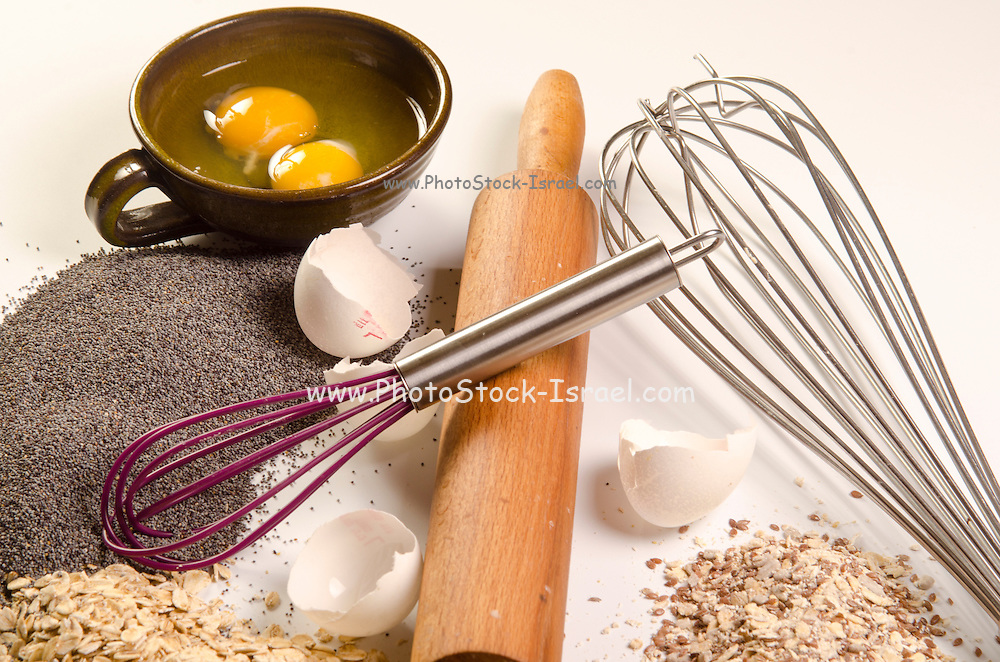 baking concept with ingredients and tools and baked goods