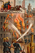 Men of the Metropolitan Fire Brigade fighting outbreak of fire in the City of London 19 November 1897.  About 100 warehouses destroyed and the roof of St Giles Church, Cripplegate which had survived Great Fire of 1666 was damaged and John Milton's monument burnt. Horse-drawn steam fire engine used to pump water.  From 'Bubbles' c1900 published by Dr Barnados Homes for children. Oleograph.