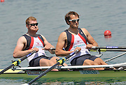 Banyoles, SPAIN,  GBR M2X-, Bow, {L}  Matt WELLS and Steve ROWBOTHAM Men's Double Sculls Repechage,  FISA World Cup Rd 1. Lake Banyoles  Saturday, 30/05/2009  [Mandatory Credit. Peter Spurrier/Intersport Images]