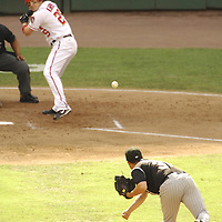 21 July 2007:  Colorado Rockies pitcher Rodrigo Lopez (31) delivers a pitch to Washington Nationals right fielder Austin Kearns (25).  The Nationals defeated the Rockies 3-0 at RFK Stadium in Washington, D.C.  ****For Editorial Use Only****