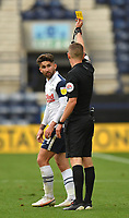 Preston North End's Sean Maguire is yellow carded by Referee Matthew Donohue<br /> <br /> Photographer Dave Howarth/CameraSport<br /> <br /> The EFL Sky Bet Championship - Preston North End v Stoke City - Saturday 26th September 2020 - Deepdale - Preston <br /> <br /> World Copyright © 2020 CameraSport. All rights reserved. 43 Linden Ave. Countesthorpe. Leicester. England. LE8 5PG - Tel: +44 (0) 116 277 4147 - admin@camerasport.com - www.camerasport.com