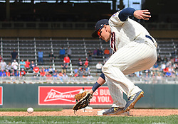 May 2, 2018 - Minneapolis, MN, U.S. - MINNEAPOLIS, MN - MAY 02: Minnesota Twins Designated hitter Logan Morrison (99) fields a ground ball during a MLB game between the Minnesota Twins and Toronto Blue Jays on May 2, 2018 at Target Field in Minneapolis, MN.The Twins defeated the Blue Jays 4-0.(Photo by Nick Wosika/Icon Sportswire) (Credit Image: © Nick Wosika/Icon SMI via ZUMA Press)