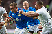 Twickenham, United Kingdom, Saturday, 9th March 2019,  England's Kyle SINCKLER, tacking, Italy's Federico RUZZA, during the Guinness Six Nations match, England vs Italy,  at the RFU Rugby, Stadium,© Peter Spurrier