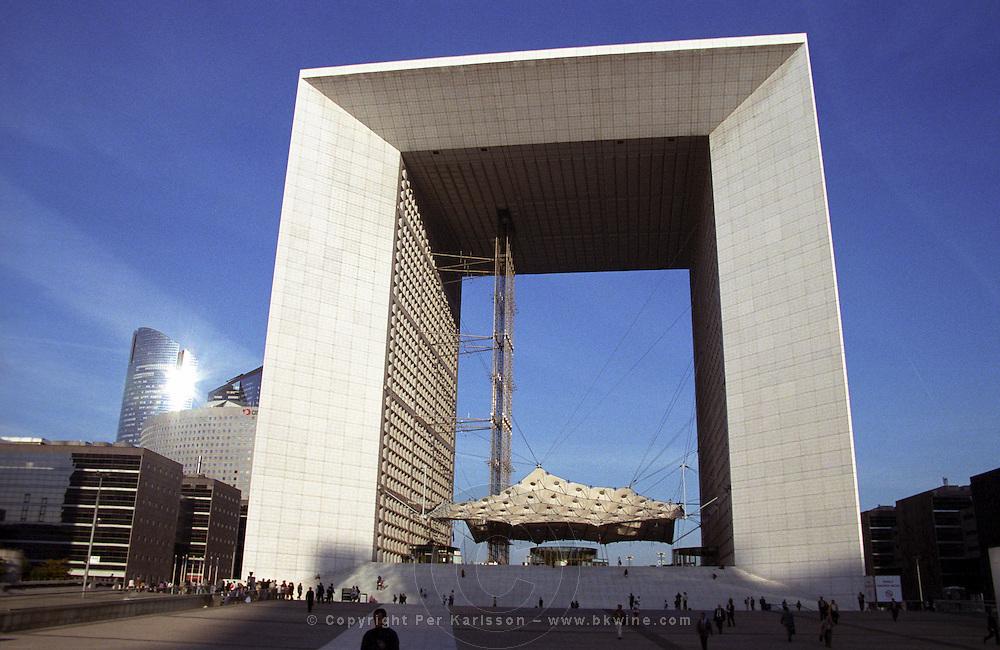 Modern skyskraper office buildings at La Defense complex.  La Grande Arche building. Paris, France.