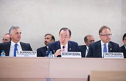United Nations Secretary-General Ban Ki-moon (C) speaks during the Geneva Conference on Preventing Violent Extremism in Geneva, Switzerland, April 8, 2016. United Nations Secretary-General Ban Ki-moon said Friday that a paradigm shift is needed to address violent extremism affecting communities across the globe. EXPA Pictures © 2016, PhotoCredit: EXPA/ Photoshot/ Xu Jinquan<br /> <br /> *****ATTENTION - for AUT, SLO, CRO, SRB, BIH, MAZ, SUI only*****
