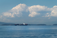 Container Ship sailing in the Strait of Juan De Fuca Washington