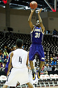 Montrael Scott (31) of Prairie View A&M shoots the ball against Jackson State during the SWAC semi-finals at the Curtis Culwell Center in Garland on Friday, March 15, 2013. (Cooper Neill/The Dallas Morning News)