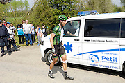 France, April 13th 2014: With a bandaged knee, BJÖRN THURAU, Europcar, abandons the race at Pont Gibus, Wallers, following a crash during the Paris Roubaix 2014 cycle race.