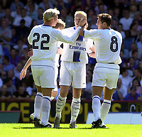 Photo: Greig Cowie.<br /> 02/08/2003<br /> Pre Season Football Friendly. Crystal Palace v Chelsea. Selhurst Park.<br /> Mikael Forssell celebrates his goal