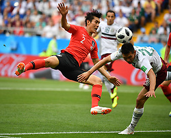 June 23, 2018 - Rostov-on-Don, Russia - Lee Yong (L) of South Korea vies with Hirving Lozano of Mexico during the 2018 FIFA World Cup Group F match between South Korea and Mexico in Rostov-on-Don, Russia, June 23, 2018. (Credit Image: © Li Ga/Xinhua via ZUMA Wire)