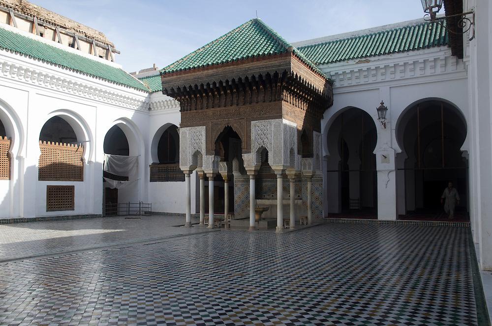 Courtyard of Karaouine university Fes el Bali Morocco