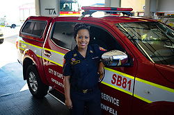 South Africa - Cape Town - 6 August 2020 - (Women's Day series) Firefighter Edwina Young posing for a picture infront of a fire vehicle at Brackenfell Fire station. Firefighting has historically been a predominantly male profession throughout the world. Picture: Henk Kruger/African News Agency (ANA)