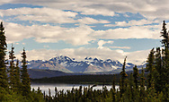 Paxson Lake and the Alaska Range in Interior Alaska. Summer. Morning.