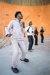 1 March 2017, Thaba Bosiu, Lesotho: Mohobelo is a sport in Lesotho, which derives from a cultural dance that grew out of the times when the men were working in the mines in South Africa and Lesotho. The dance features sticks, which were traditionally used as simple weapons.