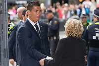Real Madrid CF player, Cristiano Ronaldo and the Mayor of Madrid, Manuela Carmena during the Real Madrid CF reception at Madrid city hall after winning the Champions League May 29,2016. (ALTERPHOTOS/Rodrigo Jimenez)
