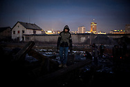 Migrant is seen collecting some wood that he will use to warm him self.  During the winter in Belgrade temperatures can drop below -20 celsius. Belgrade, Serbia. January 14th 2016 Federico Scoppa