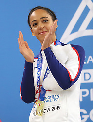 Great Britain's Katarina Johnson-Thompson poses with her gold medal after winning the Pentathlon during day two of the European Indoor Athletics Championships at the Emirates Arena, Glasgow.