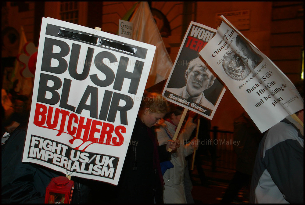 Pic by Heathcliff O'malley.An anti-Bush demonstration tonight in central London on the eve of the U.S President's arrival in England for a state visit.