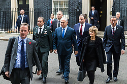 London, November 02 2017. Israeli Prime Minister Benjamin Nethanyahu leaves 10 Downing Street following bilateral talks with British Prime Minister Theresa May on the 100th anniversary of the Balfour Agreement.. © Paul Davey