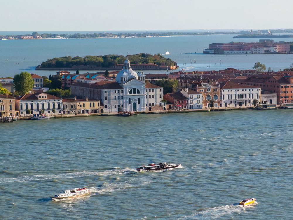 View from the Campanile across the Venice lagoon at the San Giorgio Maggiore island.