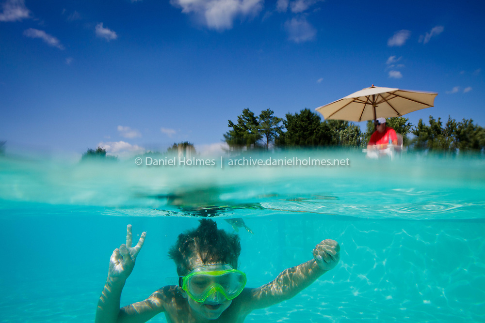 (8/17/11, MILLIS, MA) Ethan Holmes, 6, of Holliston cools off in the pool at the Glen Ellen Country Club in Millis Wednesday. Photo by Dan Holmes.