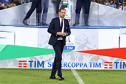August 13, 2017 - Rome, Italy - The delusion of Massimiliano Allegri manager of Juventus  after  the Italian SuperCup TIM football match Juventus vs Lazio on August 13, 2017 at the Olympic stadium in Rome. (Credit Image: © Matteo Ciambelli/NurPhoto via ZUMA Press)