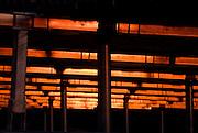 Solar panels at dusk