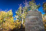 Stone marker on Monitor Pass, Sierra Nevada Mountains, California USA