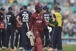 West IndiesÕ Shai Hope walks off dejected after getting out for 11 during the Fourth Royal London One Day International at the Kia Oval, London.