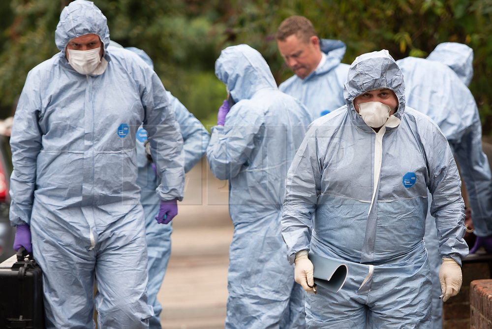 © Licensed to London News Pictures. 16/08/2020. London, UK. Police forensics at the scene at Cumberland Park in Acton, West London where 10 year old boy was discovered dead after a woman handed herself in to police at a nearby station. Photo credit: London News Pictures.
