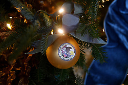 Decorations are seen on the official White House Christmas Tree in the Blue Room of the White House in Washington, DC, November 27, 2017. . Photo by Olivier Douliery/Abaca Press