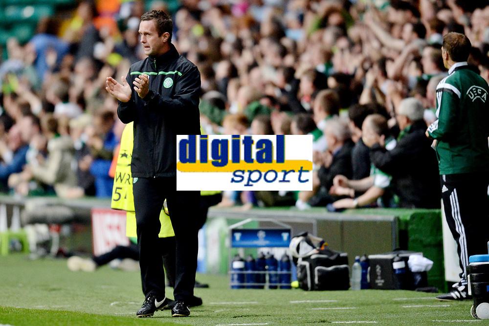 19/08/15 UEFA CHAMPIONS LEAGUE PLAY-OFF 1ST LEG<br /> CELTIC V MALMO<br /> CELTIC PARK - GLASGOW<br /> Celtic manager Ronny Deila in the dugout.