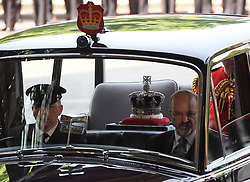 The crown arriving for the State Opening of Parliament by Queen Elizabeth II, in the House of Lords at the Palace of Westminster in London.