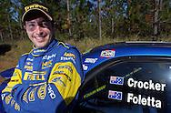 Cody Crocker & Greg Foletta (Portrait).Subaru Impreza WRX.2003 Falken Rally of Queensland.Imbul State Forest, QLD.13th-15th of June 2003 .(C) Joel Strickland Photographics