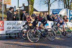 Two laps to go for Alexis Ryan and the rest of the lead group - Drentse 8, a 140km road race starting and finishing in Dwingeloo, on March 13, 2016 in Drenthe, Netherlands.