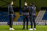 AFC Wimbledon players inspect the pitch, AFC Wimbledon defender Terell Thomas (6) centre, before the EFL Sky Bet League 1 match between Gillingham and AFC Wimbledon at the MEMS Priestfield Stadium, Gillingham, England on 24 November 2020.