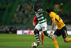 April 12, 2018 - Lisbon, Portugal - Sporting's forward Seydou Doumbia from Ivory Coast in action during the UEFA Europa League second leg football match Sporting CP vs Atletico Madrid at Alvalade stadium in Lisbon, on April 12, 2018. (Credit Image: © Pedro Fiuza/NurPhoto via ZUMA Press)