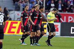 23.10.2011,  BayArena, Leverkusen, GER, 1.FBL, Bayer 04 Leverkusen vs Schalke 04, im Bild.Leverkusener Spieler geschlossen beim Schiedsrichter nach dem 0:1..// during the 1.FBL, Bayer Leverkusen vs Schalke 04 on 2011/10/23, BayArena, Leverkusen, Germany. EXPA Pictures © 2011, PhotoCredit: EXPA/ nph/  Mueller       ****** out of GER / CRO  / BEL ******